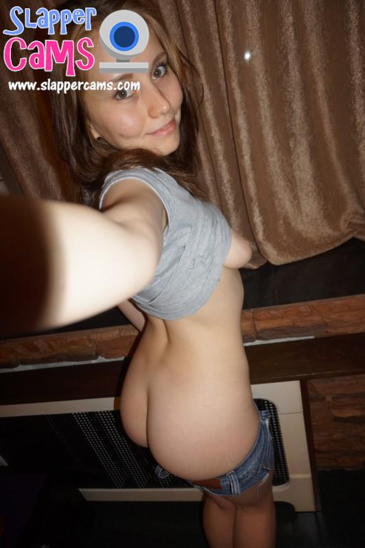 She wasn't wearing any panties underneath those tight fitting denim shorts!